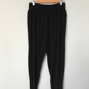 H&M Summer Cotton Black Pants with White Dots